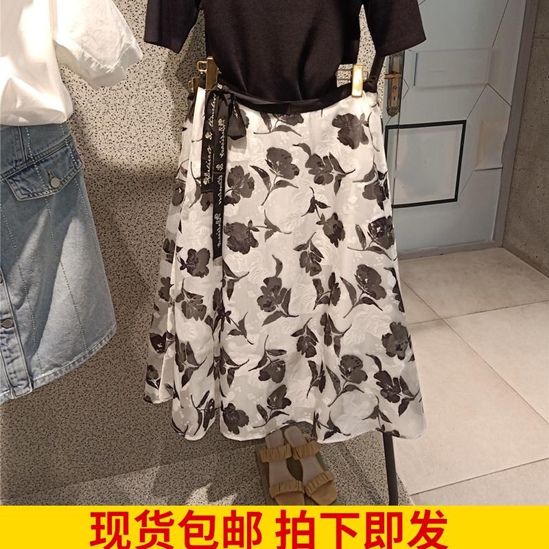 欧根纱半身裙忆红袖女2021夏新款白色印花高腰中长裙89221131503