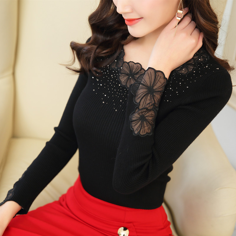 Autumn new slim lace sweater womens Pullover Organza embroidered low neck hot drilling sexy knitting bottoming shirt