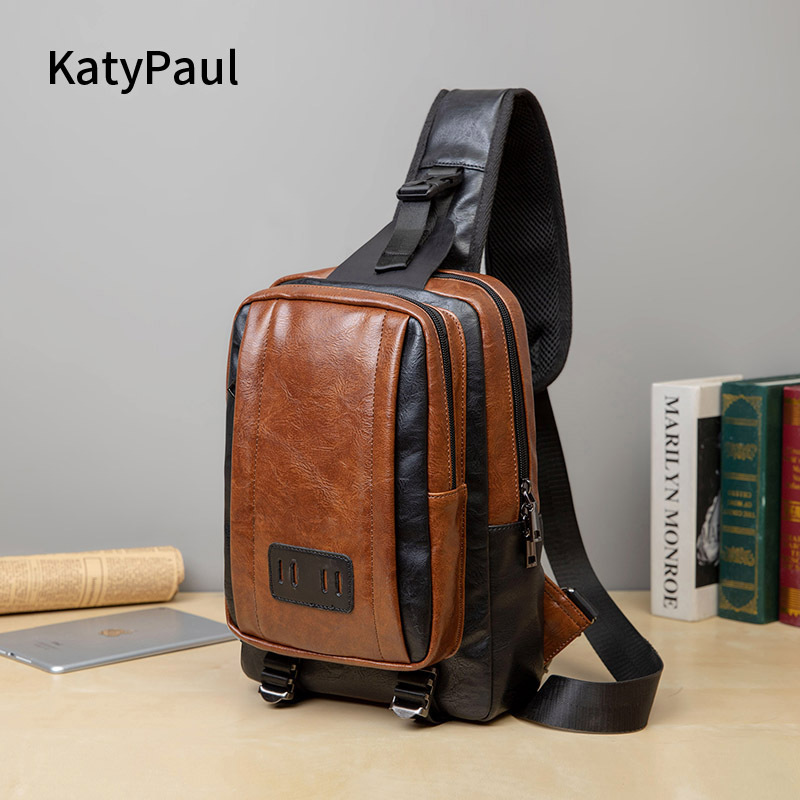 Korean new mens chest bag retro handbag fashion vertical casual straddle leather bag business one shoulder mens bag