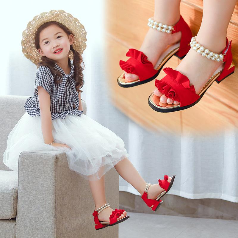 哈皮安妮女童凉鞋公主鞋2018夏季新款儿童凉鞋韩版时尚中大童鞋