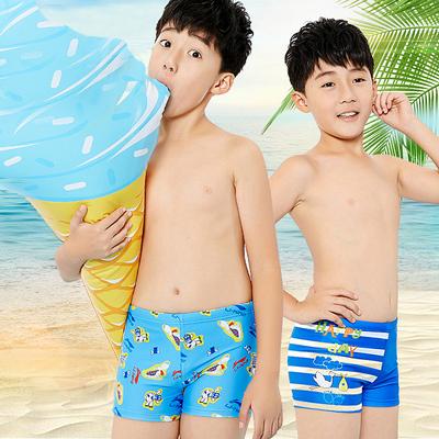 李宁儿童泳裤 男童中童大童宝宝平角游泳衣 学生卡通温泉游泳短裤