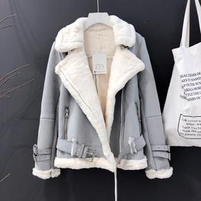羊羔毛外套女冬短款2020新款韩版皮毛一体鹿皮绒宽松加厚机车棉服