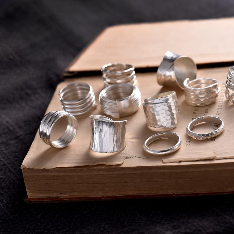 11月19日最新优惠泰国清迈99纯银食指女原创手工戒指