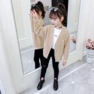 女童开衫毛衣韩版2020新款春秋装外套针织衫韩版中大童V领打底衫