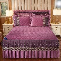 米席梦思防滑婚庆床罩加大蕾丝花边床单1.8m2结婚床裙大红色单件