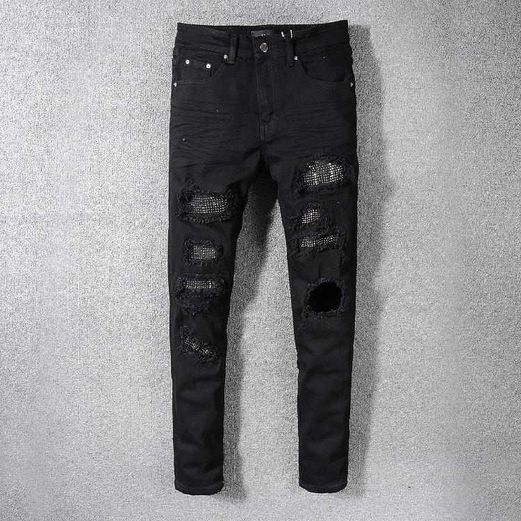 Europe and the United States high street fashion brand Amiri hole hot drill patch Pure Black Slim small foot micro elastic jeans mens wear