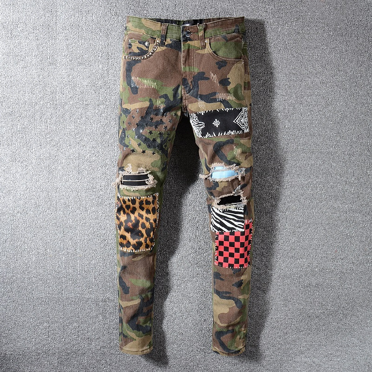 European and American high street piglet with hole camouflage leopard patch lattice beggar slim fit small foot elastic jeans men