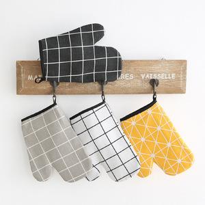 棉麻烘培手套微波炉手套隔热手套北欧风格防烫手套