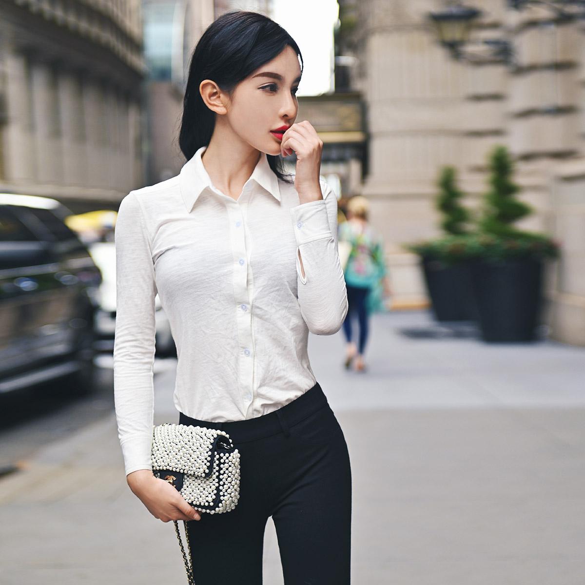 RuolinDiam秋款纯棉气质职业衬衫女白衬衫长袖女上衣蓝色衬衫女(用1元券)