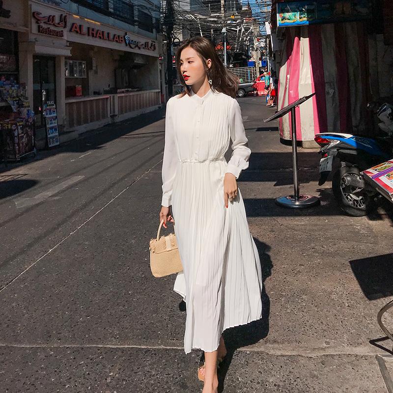 11月05日最新优惠白色长袖连衣裙女仙气质雪纺2019新款夏立领裙子过膝脚踝长裙显瘦