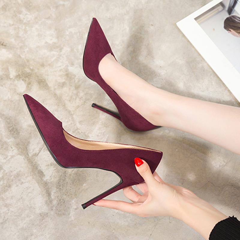 百搭酒红色绒面高跟鞋尖头法式少女网红性感职业裸色黑色细跟10cm