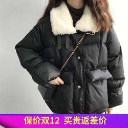 冬季韩版加厚纯色短款毛领羽绒棉服女宽松百搭保暖面包服女式棉衣