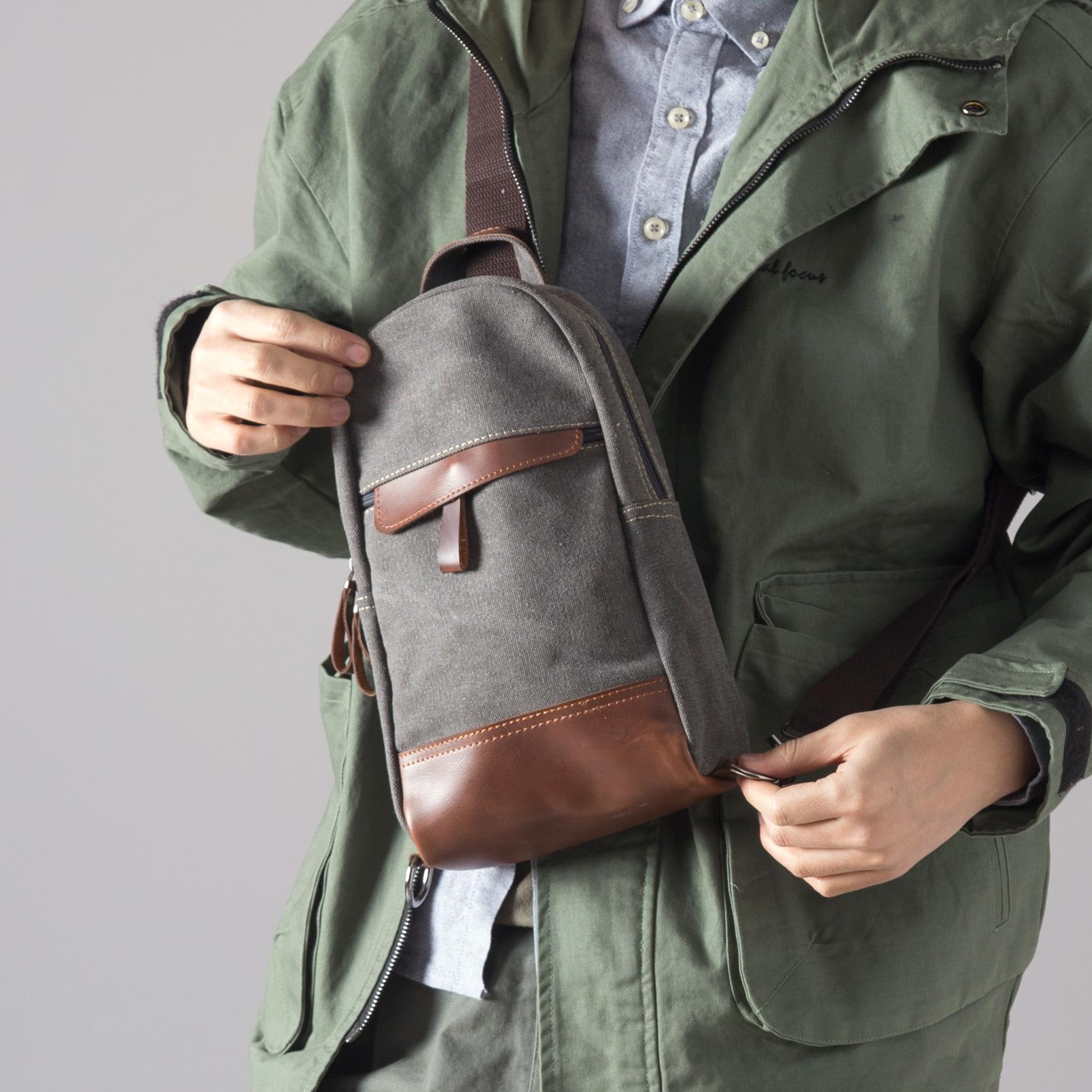 胸包男士韩版潮包斜挎包休闲帆布小包背包腰包单肩包男包包限20000张券