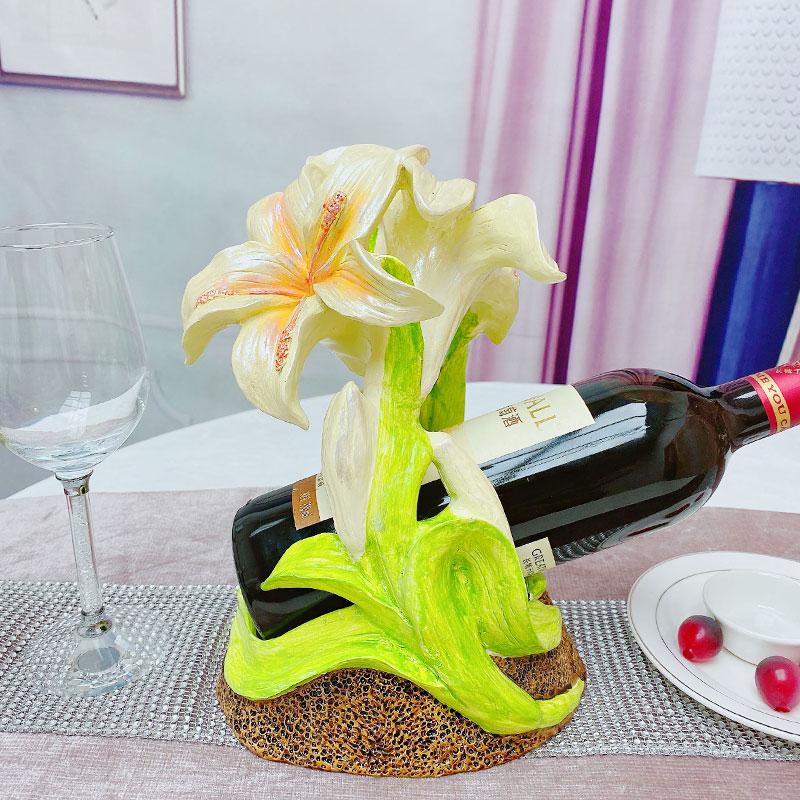 百合葡萄酒架创意树脂客厅家用酒柜