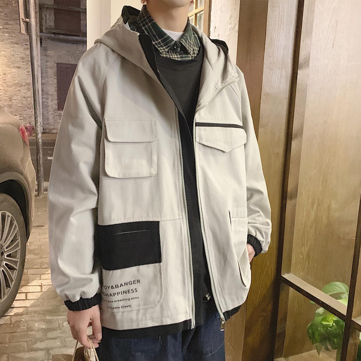2020秋装上新港风韩版宽松男连帽夹克撞色外套潮上衣 JK19028/P85