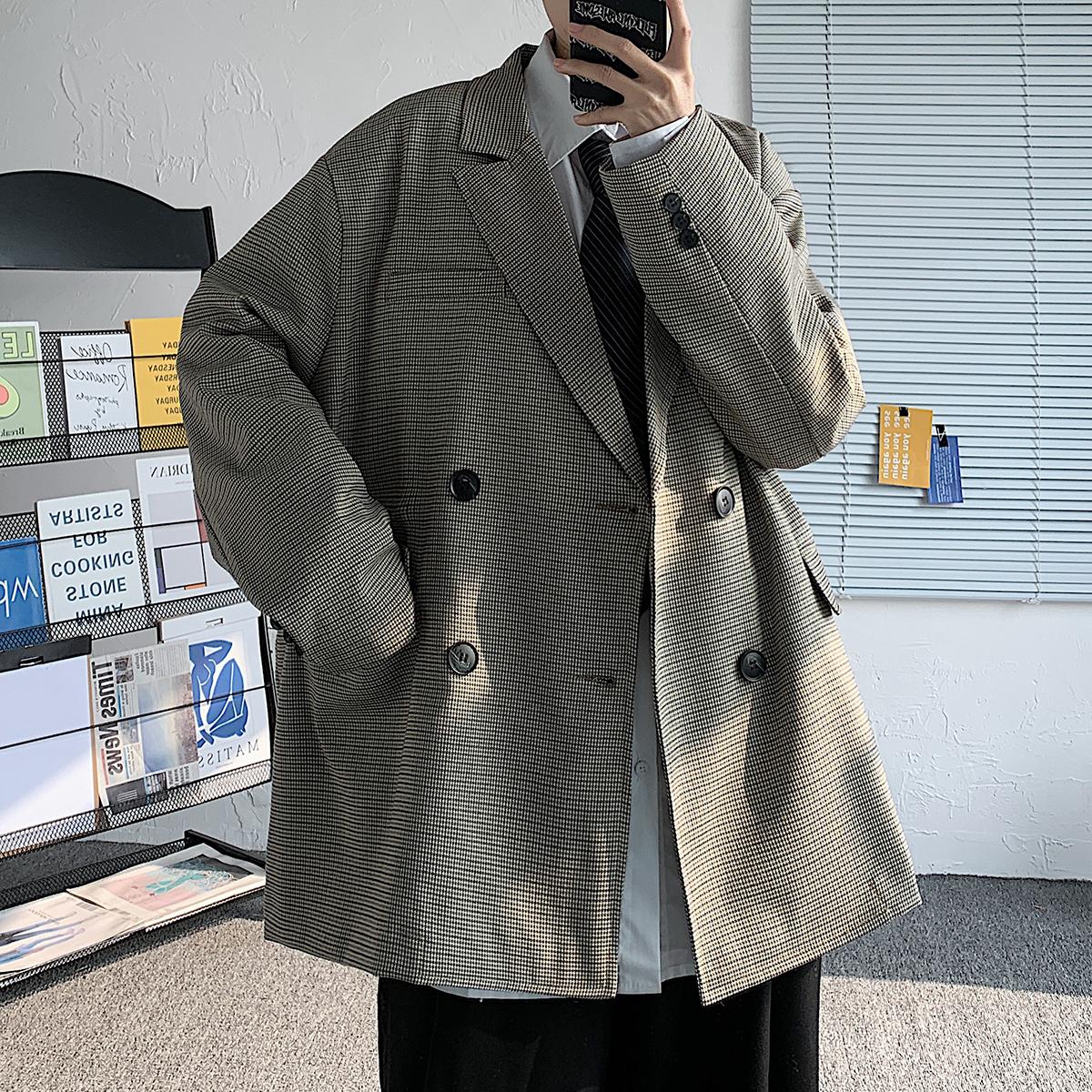 2021秋季港风格子外套薄款宽松男式ins休闲西装 WT898/P85 现货