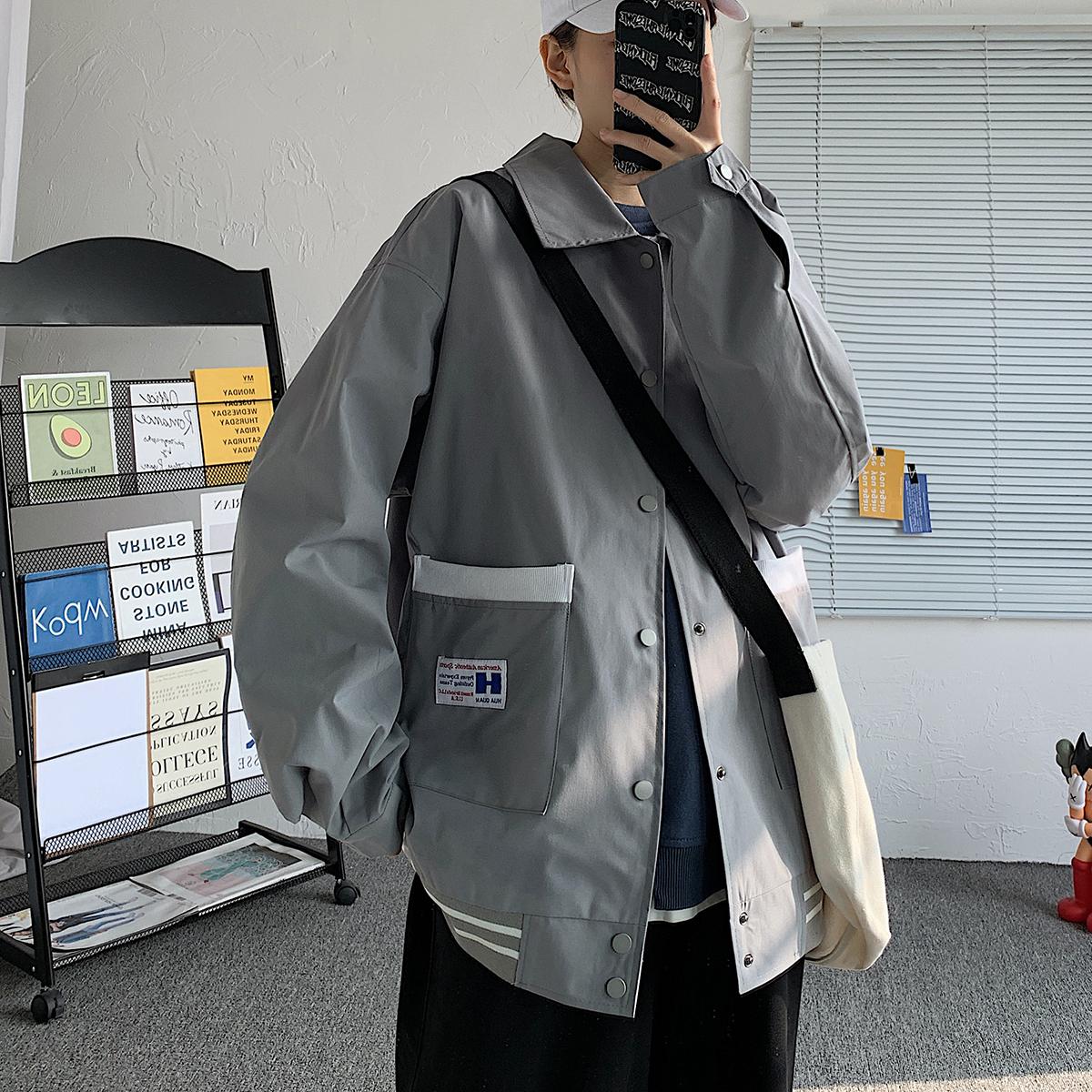 2021秋情侣男大翻领夹克宽松撞色贴标夹克 JK16918/P55 有现货