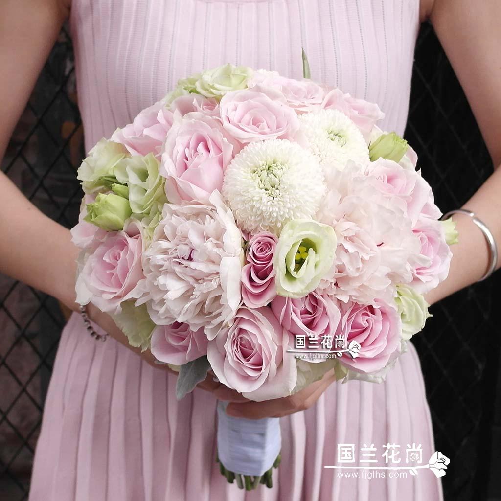 City Express 19 pink roses wedding bride holding flower ball