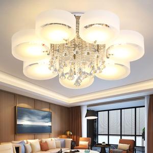 客厅灯 简约现代水晶灯吸顶灯LED圆形卧室灯大气家用创意温馨灯具