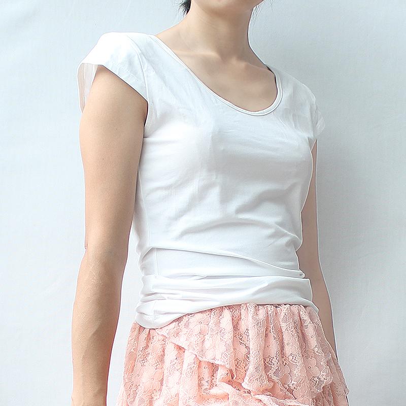 2021韩版白色女装时尚新款气质纯棉上衣ins特色小垫肩短袖潮t恤衫