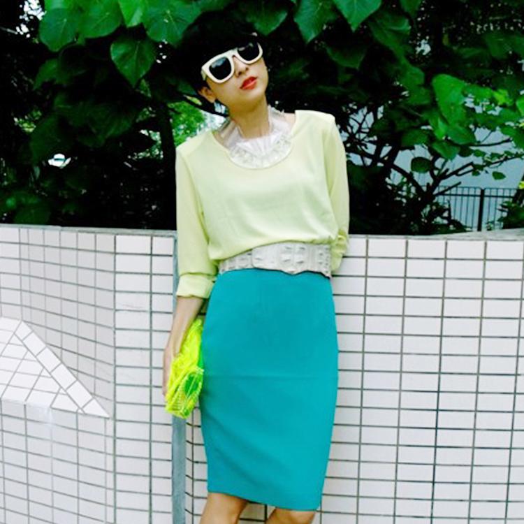 香港潮品liger徐濠萦明星同款新女装夏时尚一步裙包臀半身短裙子