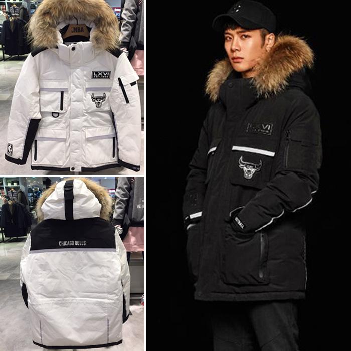 推荐折扣!韩国正品NBA代购 冬季男女王嘉尔同款大毛领羽绒服外套