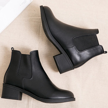 Mid autumn and winter women's short boots round head Chelsea boots Martin boots match British students' boots black leather boots and ankle boots