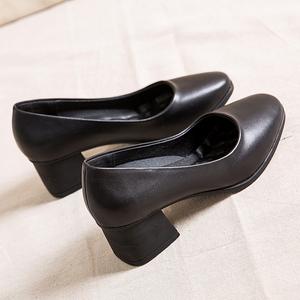 软底单鞋女浅口皮鞋中跟粗跟高跟鞋黑色工作鞋方头办公室舒适前台