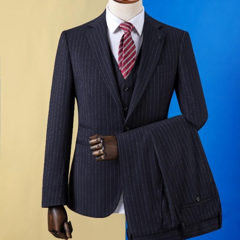量身定制西服男士新款藏蓝色条纹修身新郎结婚礼服西装套装三件套