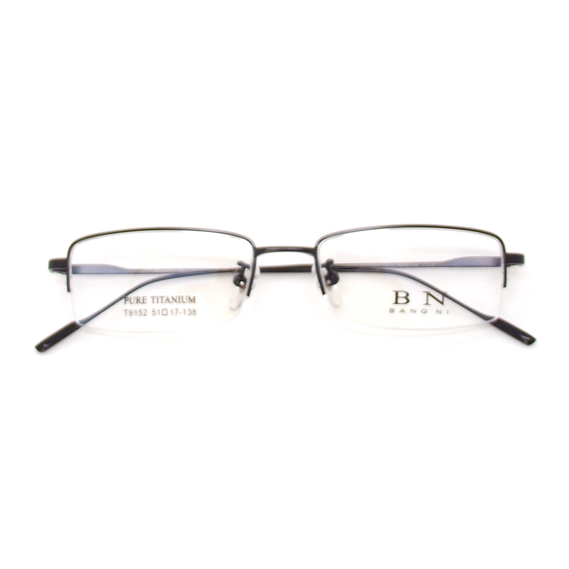 Genuine Bonnie glasses half frame 100% pure titanium frame ultra light myopia frame male 9152 with glasses