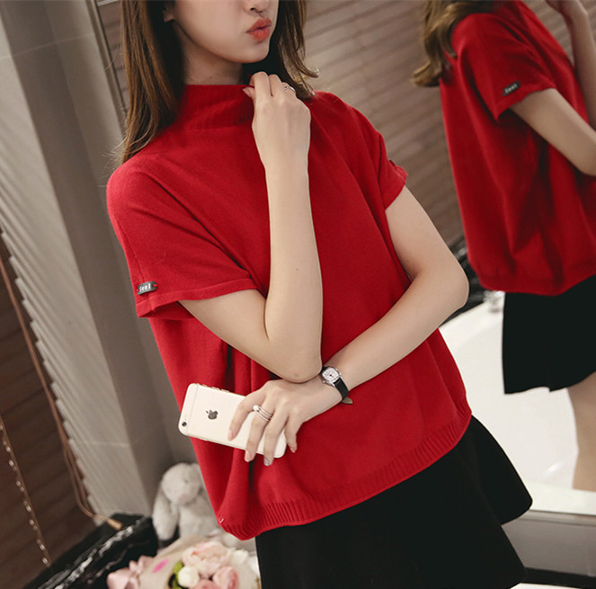 Sweater womens 2021 spring and Autumn New Korean high collar cuffs logo short sleeve loose and versatile solid color bottoming T-shirt