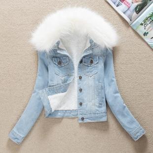 新品 女装 韩版 2021春季 修身 加绒加厚可脱卸毛领牛仔棉衣棉服外套