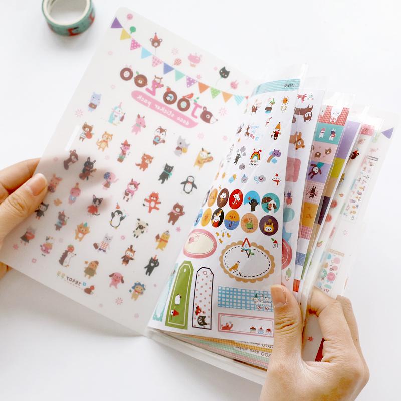 杂啊JOOZOO可爱卡通手账本贴纸册 DIY相册手帐本日记装饰贴纸8张