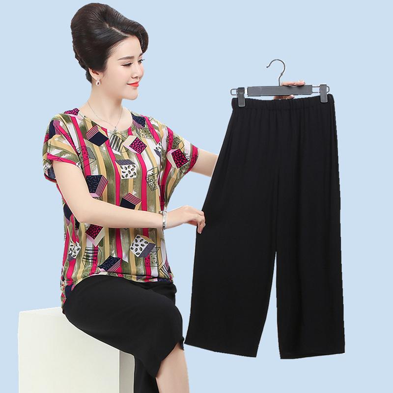 妈妈夏装短袖套装200斤大码宽松t恤上衣中老年女装气质时尚两件套
