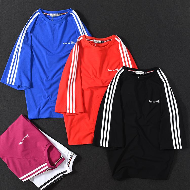 新款t恤圆领宽松t-shirt男夏季短袖纯棉弹性七分袖韩版潮流运动衫