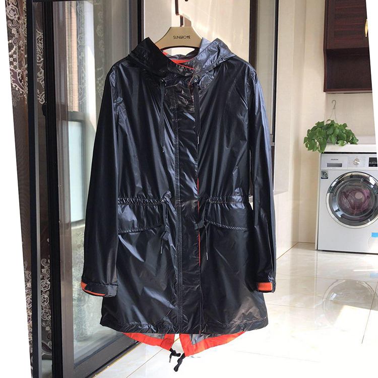 New fashion products! Spring and autumn windbreaker womens large waist closing temperament outdoor sports light medium length coat windproof and waterproof