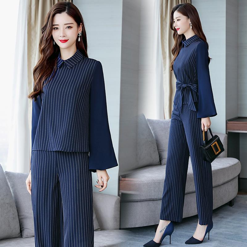 2018秋季新款女装时髦套装韩版气质名媛淑女显瘦女神范条纹两件套