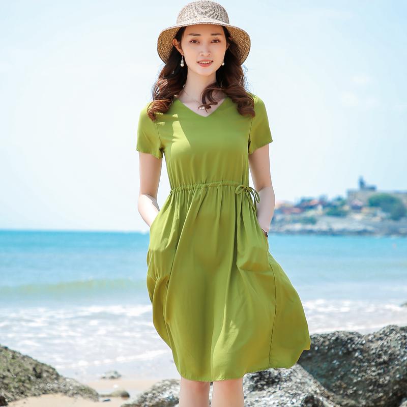 2020新款棉绸连衣裙女夏季短袖收腰显瘦大摆裙人造棉中长款沙滩裙