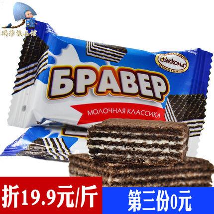 俄罗斯农庄威化饼干进口巧克力炼乳味夹心菲利莫阿孔特零食500g