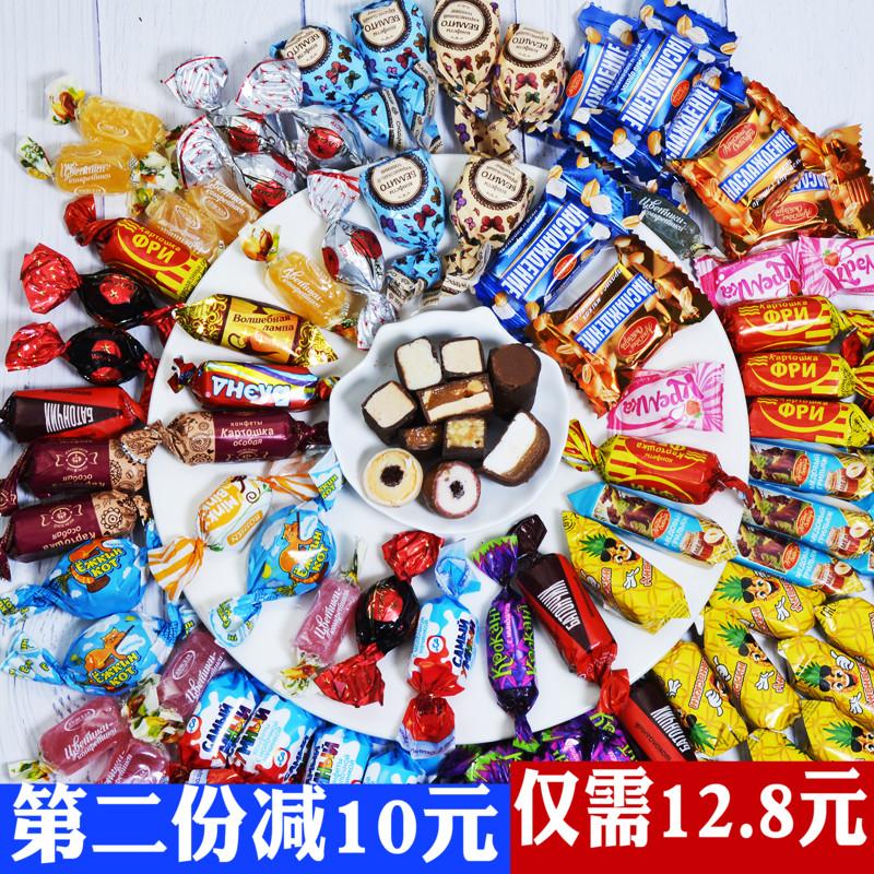 俄罗斯进口紫皮糖混合装糖果多口味组合巧克力零食礼包500g包邮