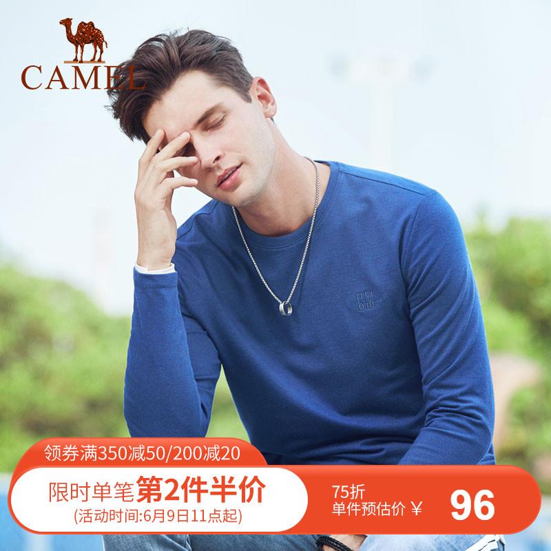 骆驼男装 2019春季新款青年韩版圆领纯色长袖t恤男士绣标轻薄体恤