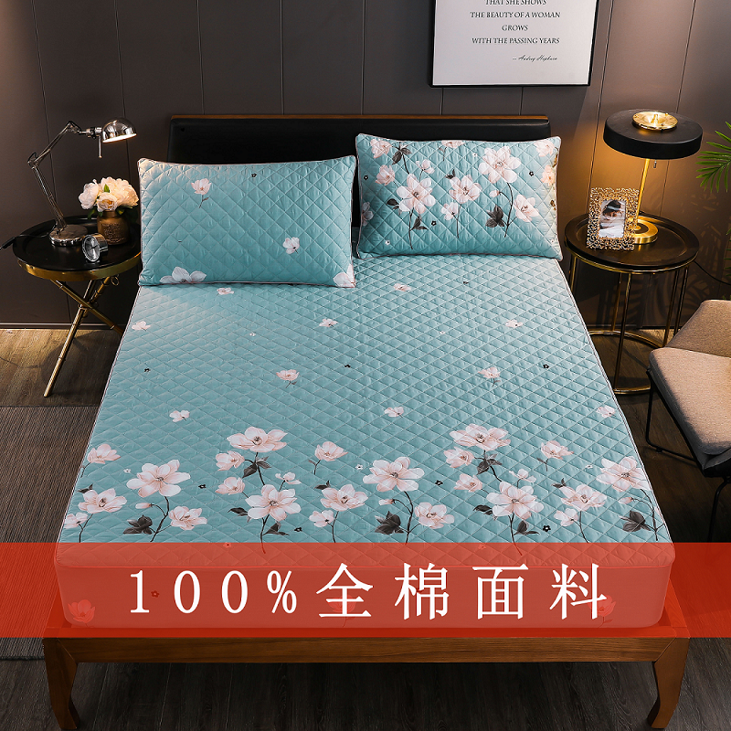 Cotton fitted sheet with single piece cotton bed cover Simmons protective cover thickened dust-proof and anti-skid cotton 1.8m customized