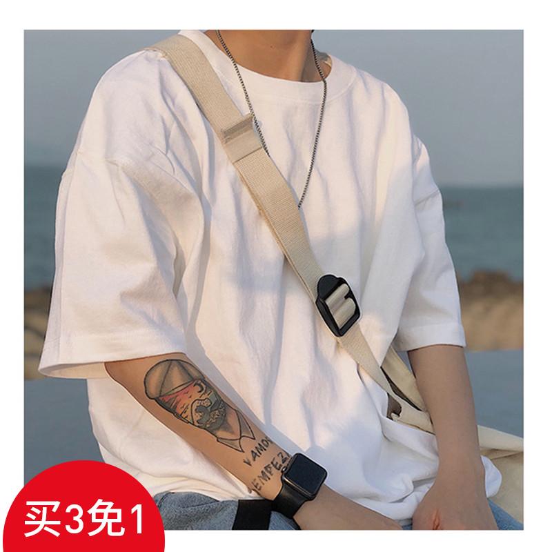 限5000张券letstee夏装重磅 纯色欧美式复古短袖T恤 宽松打底衫潮牌男士体恤
