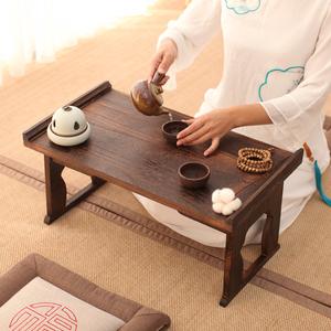包郵可折疊燒桐木飄窗桌日式炕桌矮桌大小號宜家地臺桌榻榻米茶幾