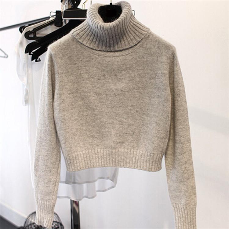 2019 foreign style womens open navel sweater high waist high neck cashmere sweater short sweater Pullover womens slim bottom sweater warm