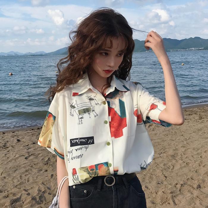 港风女短袖复古港味vintage衬衫