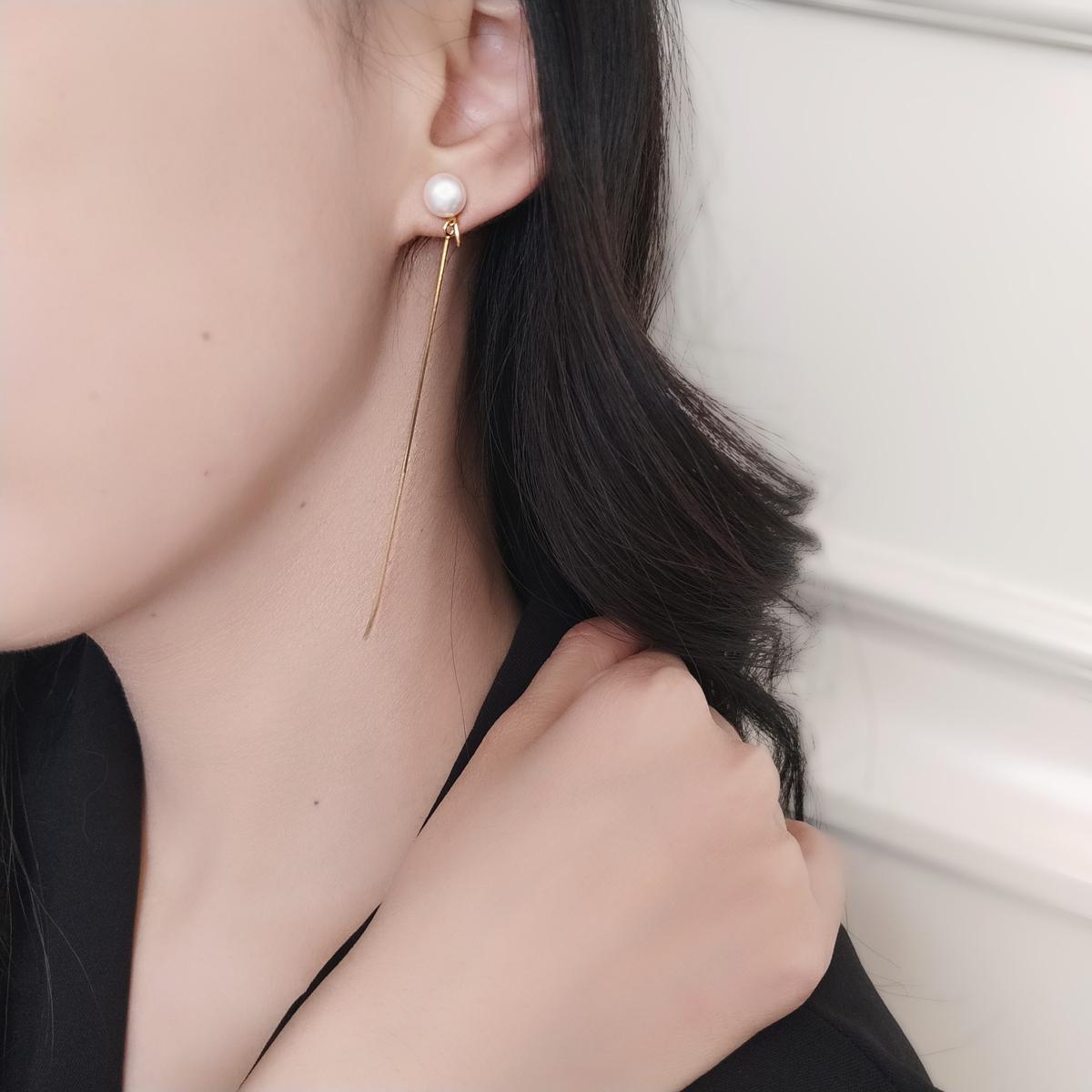 辛西娅极简风通勤天然淡水珍珠韩国气质冷淡蚊香盘耳夹耳环无耳洞图片