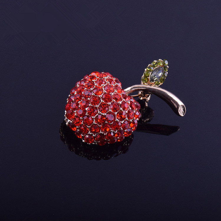Red apple Brooch light proof water drill pin fixed clothes luxury sweater suit coat female Mini fastener