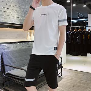 男士运动套装男短袖T恤夏季速干衣休闲健身跑步短裤 潮牌两件套装