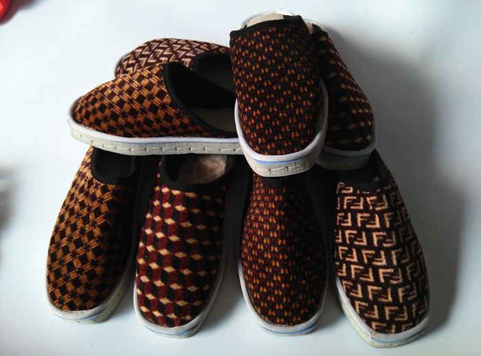Men and women pure handmade cotton slippers, autumn winter home furnishing slippers, foam sole, sponge slippers, warm cloth